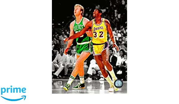 NBA Larry Bird Boston Celtics Magic Johnson LA Lakers Spotlight Action Photo #17 8x10