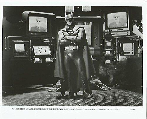 Batman 1989 Movie 8x10 inch Press Kit Photo Michael Keaton with TV monitors