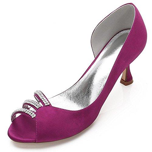 L@YC Zapatos de Mujer Que Casan ML17061-32 Para La Novia con Los broches Florales Peep Toe Medio Purple