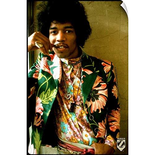CANVAS ON DEMAND Wall Peel Wall Art Print Entitled Jimi Hendrix Colored Floral Jacket 1 12