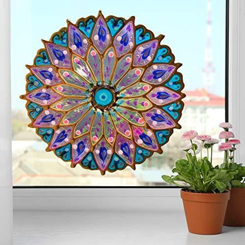 Mandala Window Home Decor, 7 Inch Purple Blue Peelable glueless Window Cling, Suncatcher Effect, Geometric Indian Art, Yoga Studio, Spiritual Gift, Window Decor, Boho Decor, Peacock Mandala Artisan