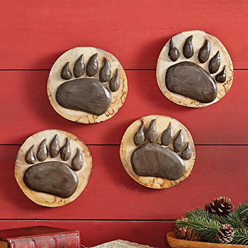 Black Forest Décor Wood Carved Bear Paws (Set of 4)