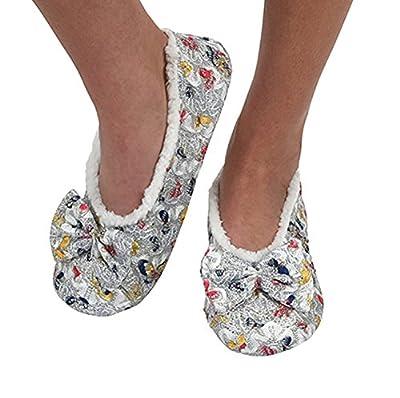 Snoozies Womens Brocade Shine Ballerina Comfort Split Slipper Socks
