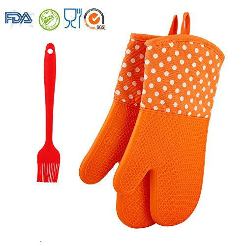 ENFINER 13Inch Silicone Oven Mitts 1 Pair with Silicone Oil Brush, Cotton Lining Heat Resistant Non-Slip Silicone Kitchen Gloves for Grilling, Baking, Cooking, BBQ (Orange)