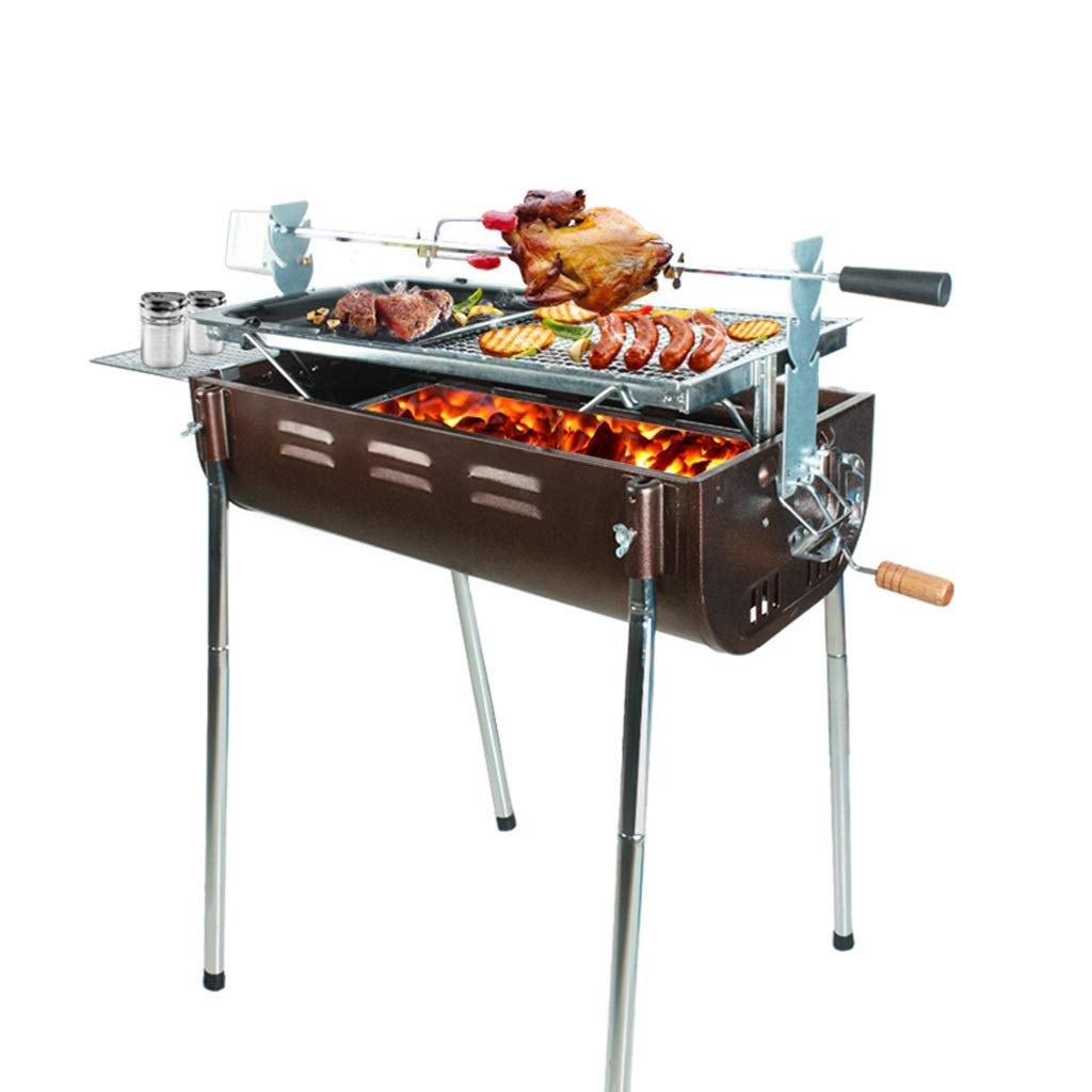 Barbecue BBQ Grill Large Grill Charcoal Tools Outdoor Camping Beach Portable BBQ Tools Rotating Grill Suitable for 5 or More People Smokeless (Color : Black, Size : 803530/75cm)