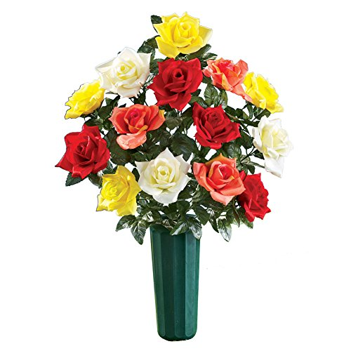 Faux Multicolor Roses & Vase for Cemetary Memorial Grave Marker, Large