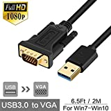 USB 3.0 to VGA(MALE) CABLE ADAPTER- 6.5 Ft/2M Length Computer/Projector USB Cable, TomLink USB to VGA Multiple Monitor Display Video Adapter/Converter, Up to 1920 x 1080 Resolution Black LFA-008