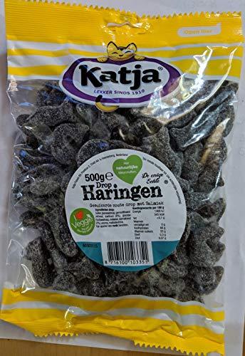 Katja Drop Haringen Dutch Black Licorice Salmiak Herring-Shaped 500 Grams/17.6 Ounces Pack of 3