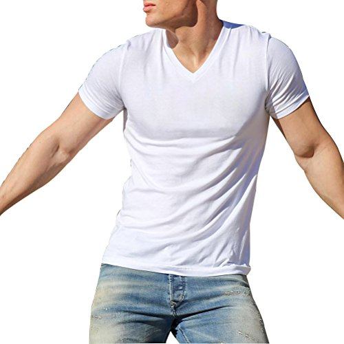 Mens Retro V-Neck String Tee Gym Workout Fitness String Slim Muscle Short Sleeve T-Shirt