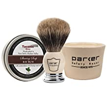 Parker Shave set Apothecary Mug. Pure Badger Brush & Taconic Shave Bay Rum Soap