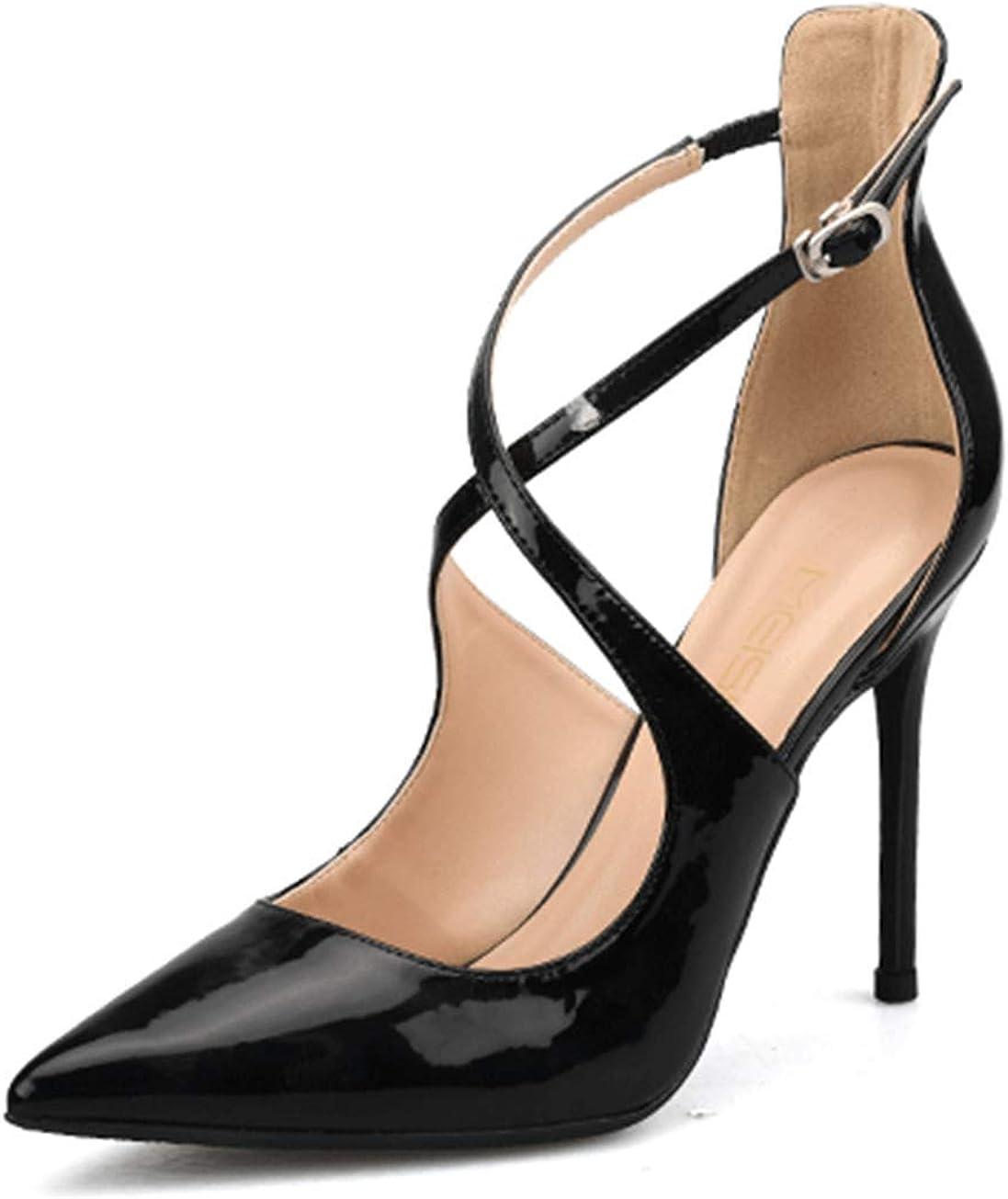 Fanessy Femme Sandales Mode Escarpins Noir Rouge Grande Taille de 32-42 Talon Haut Aiguille de 10CM /él/égant Mode Chaussure de Soir/ée Casual Boucle Chic