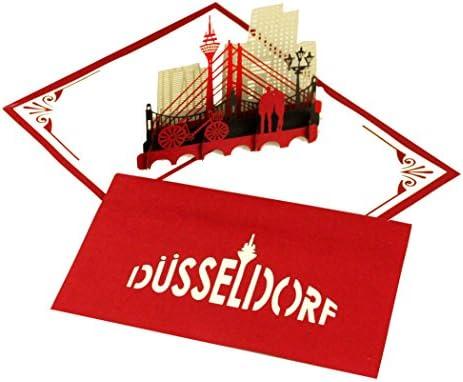 Pop Up Kartedüsseldorf 3d Grußkarte Düsseldorf Skyline