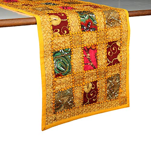 Rajrang Decorative Hand Embroidered Colorful Patchwork Table Runner for Dining Table 4 Seater Wedding Reception Yellow Table Runner 12x72 Inch