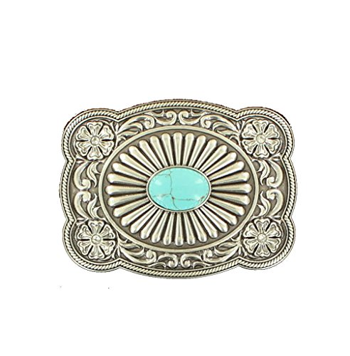M&F Western Women's Scallop Edged Turquoise Rectangle Buckle, Silver, One - Scallop Rectangle