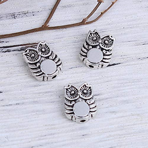"""PEPPERLONELY 100pc Antiqued Silver Alloy Owl Animal Charms Pendants 10 x8mm(3/8"""" x 3/8"""")"""