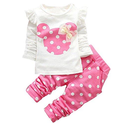 iEFiEL Baby Mädchen Kleidung Set Top Langarm Shirt + Pants Bekleidungsset Minnie Kopf Outfits Rosa 86 (Herstellernummer:90)