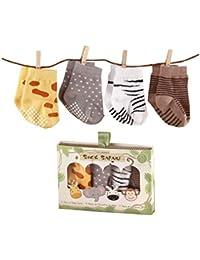 Sock Safari Four-Pair Animal-Themed Socks Set, 0-6 Months