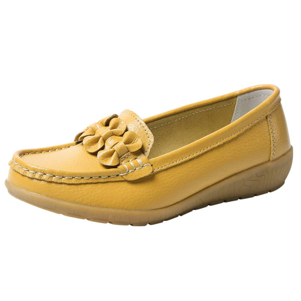 Kauneus Womens Comfy Casual Loafers Girls Ladies Daily Basic Sandals Walking Shoes Solid Wedges Round Toe Lazy Shoes Yellow by Kauneus Fashion Shoes