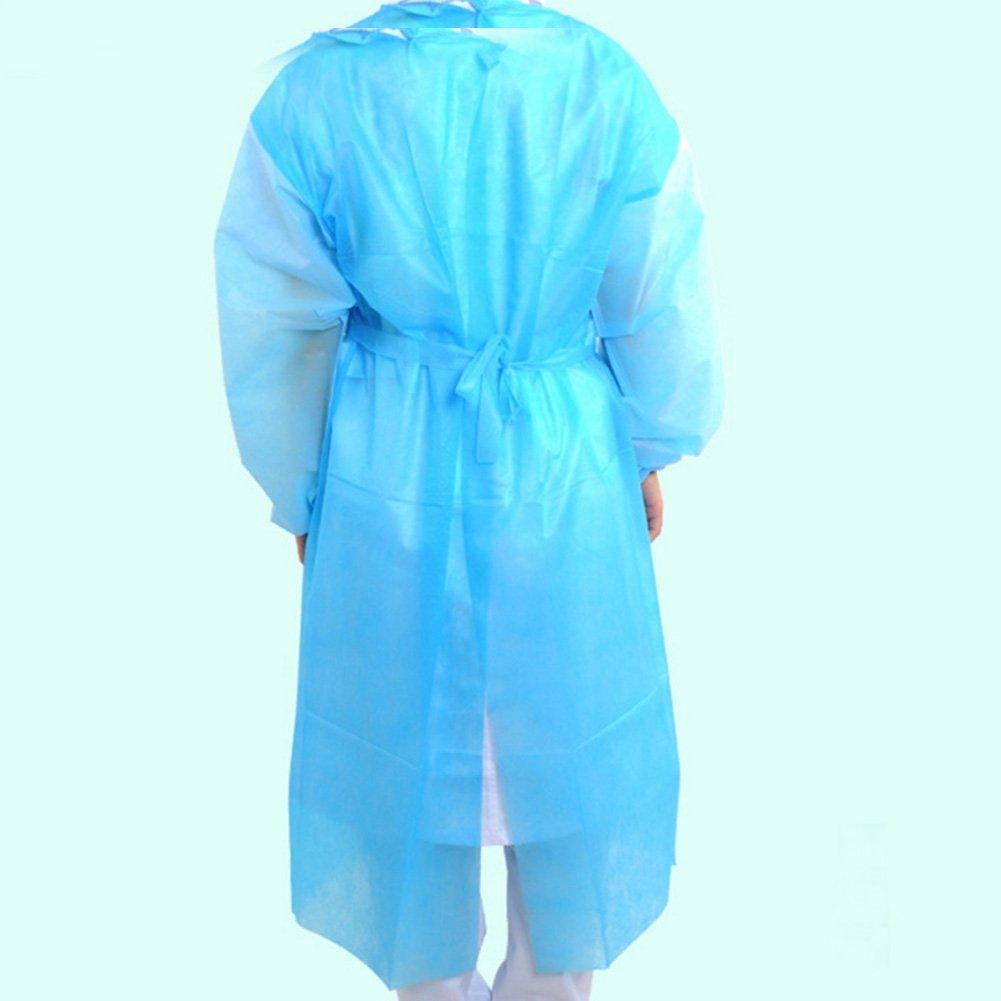 zeroyoyo desechable Laboratorio aislamiento aislamiento de quirúrgico médico albornoz con funda elástica para muñecas, color amarillo, azul, color blanco: ...