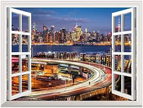 Removable Wall Sticker/Wall Mural - City Traffic Lights at Night with The New York Skyline | Creative Window View Home Decor/Wall Decor - 24