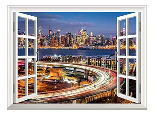 Removable Wall Sticker Wall Mural City Traffic Lights at Night with The New York Skyline Creative Window View Wall Decor