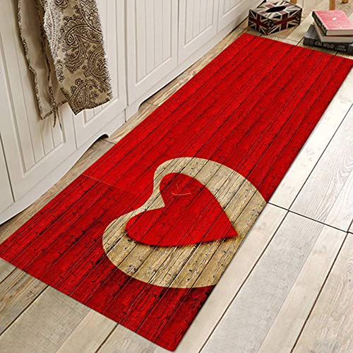 (ChYoung Red Hearts Valentine's Day Bath Rugs, Non-Slip 3D Printed Flannel Area Runner Rugs Washable Long Floor Mat)