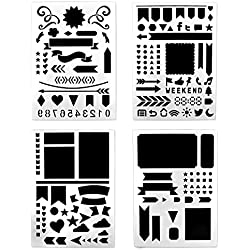 BronaGrand Set of 4 Bullet Journal Stencil(Banners, Dividers, Icons Fits Leuchtturm & Moleskine A5 Notebooks) for Journaling, Scrapbooking, Card and Art Projects