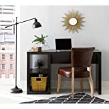 Better Homes and Gardens BH16-084-599-04 Cube Organizer Home Office Desk Made of Medium-Density Fibreboard Wood with Built-in Cable Door on Desktop, Black
