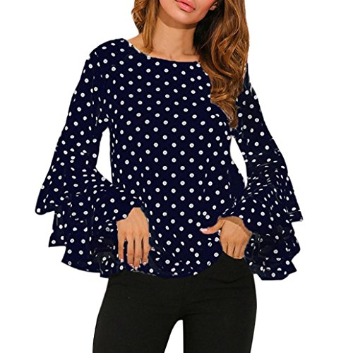 Hot Sale Fashion Women's Adorable Bell Sleeve Tops Loose Elegant Polka Dot T Shirt Ladies Casual Blouse (S, Blue)