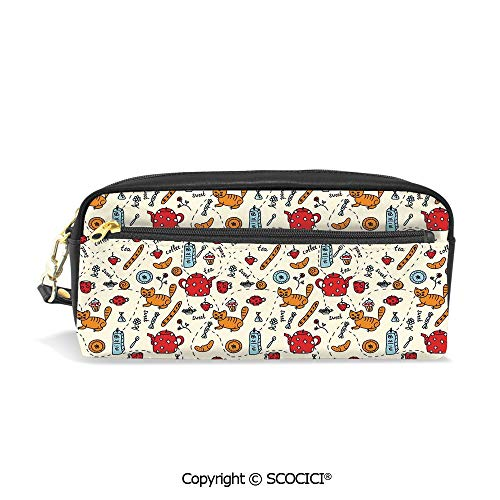 Printed Pencil Case Large Capacity Pen Bag Makeup Bag Cats Tea and Sweets Coffee Morning Muffins Milk Bread Home Cafe Cartoon Doodle Art for School Office Work College Travel