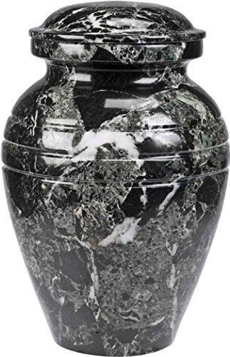 """The UrnConcern® Bendemeer Cremation Urn, A Black Grain Polished Marble Urn, 3"""""""