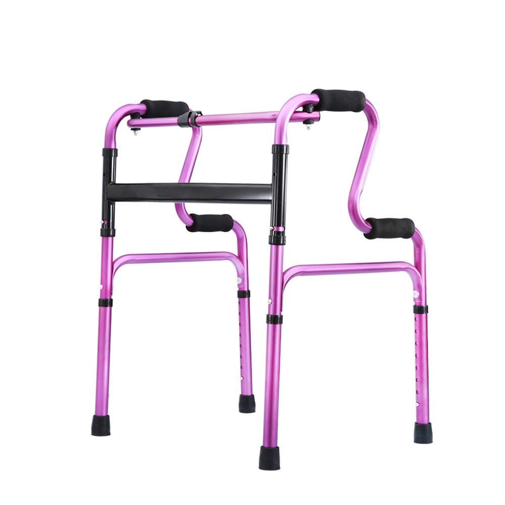 YFQ Standard Walker Ultra Narrow Walking Frame Home Light Walking Frame Drive Folding Height Adjustable Rehabilitation Training Frame Shopping Cart (Color : Purple)