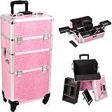 Sunrise Outdoor Travel Pink Crocodile Trolley Makeup Case - I3661