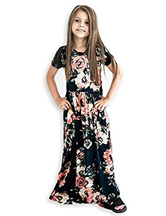 21KIDS Girls Floral Flared Casual Short Sleeves Summer Long Maxi Dress(6-12 Years)