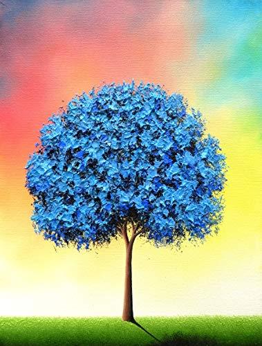 g, Colorful Modern Wall Art, Textured Blue Tree Landscape, Contemporary Art, Impasto Palette Knife Art, Flowering Tree Painting, 12x16, Belonging ()