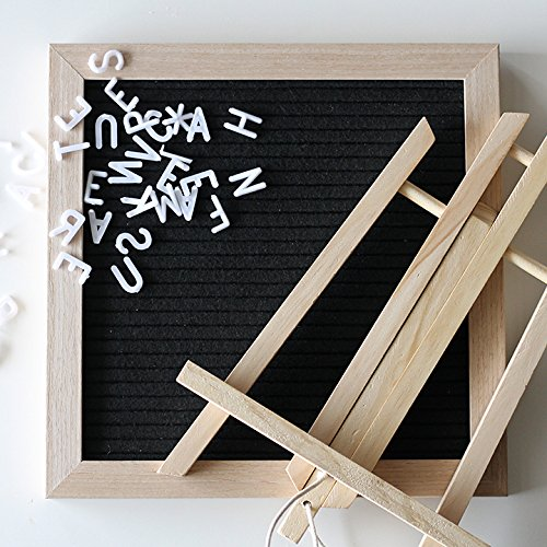 Wood & Felt Letter Board | 10x10 Wooden Black Boards come with Oak Stand and 340 Changeable Letters for Home and Office | FREE Plastic Letters, Symbols, Numbers, Bag, & Wall Mount Ready