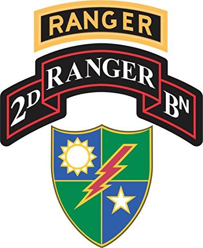 Military Vet Shop US Army 2nd Battalion, 75th Ranger Regiment Ranger Tab Window Bumper Sticker Decal 3.8