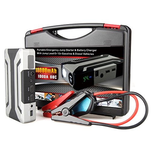 Price comparison product image Aukee Car Jump Starter 1000A Peak 18000mAh Portable Emergency Battery Charger for Diesel 6.0L Petrol 8.0L