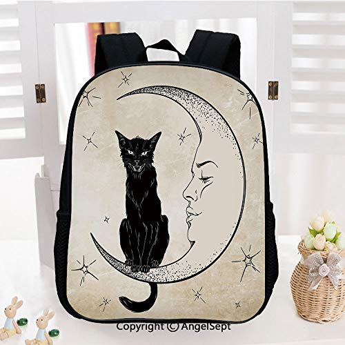 School Backpack,Black Cat Sitting on White Crescent Moon Contrasting Facial Expressions Feline Decorative School Bags Student Stylish Book Bag Daypack for Little Boys and Girls,Sand Brown Black ()