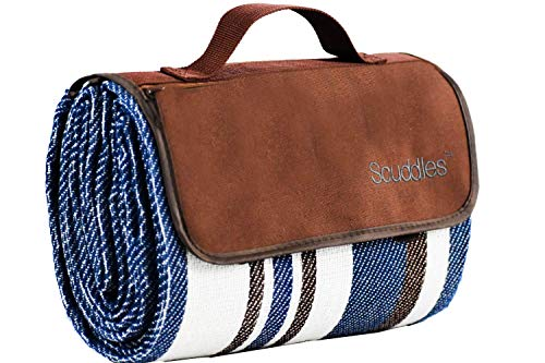 Extra Large Picnic & Outdoor Blanket Dual Layers for Outdoor Water-Resistant Handy Mat Tote Spring Summer Blue and White Striped Great for The Beach,Camping on Grass Waterproof Sandproof (SC-CM-01) (Dollar Gift Exchange Ideas 25)