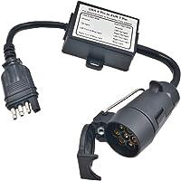 CARROFIX USA naar Europese Trailer Light Converter 4-weg platte connector (US voertuig) naar 7-weg ronde plug (Europese…