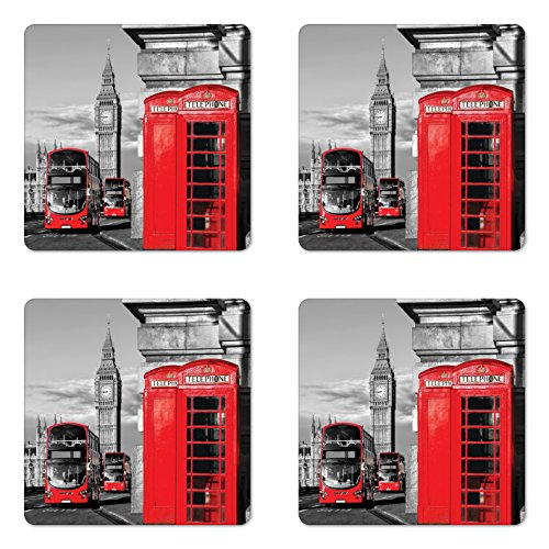 Ambesonne London Coaster Set of 4, London Telephone Booth in the Street Traditional Local Cultural England UK Retro, Square Hardboard Gloss Coasters for Drinks, Red Grey ()
