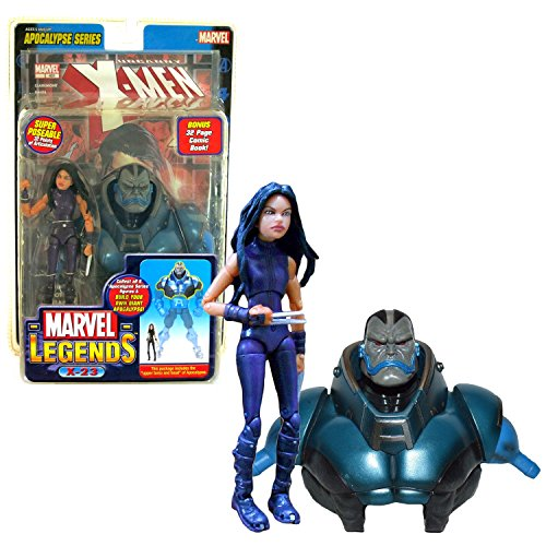 Marvel ToyBiz Year 2005 Legends Apocalypse Series 6 Inch Tall Action Figure - Purple Suit X-23 with 32 Points of Articulation Plus Upper Torso and Head of Apocalypse and 32 Page Comic Book