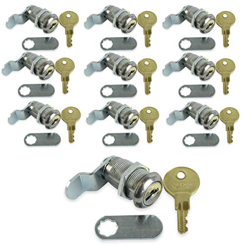 """Leisure Coachworks 10 Pack 1 1/8"""" Keyed Camlock with Straight and Offset Cam Lock Latch Keyed Alike (10, 1 1/8"""")"""