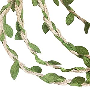 MF2FLAY 33 Feet Natural Jute Twine, Creative Burlap Leaf Ribbon 5MM with Artificial Green Leaves, Perfect Braided Decorated Vine for Art & Crafting Home Packing Decoration and Any Party Décor 109