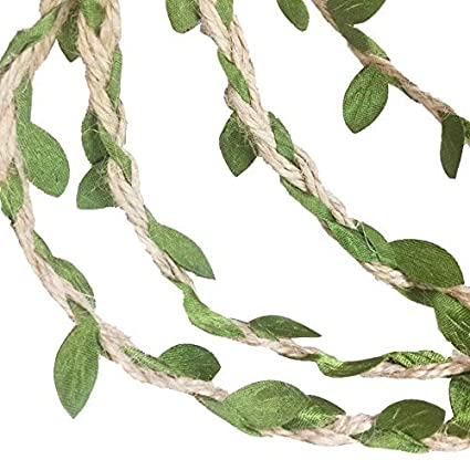 G2PLAYER 33 Feet Natural Jute Twine, Creative Burlap Leaf Ribbon 5MM with  Artificial Green Leaves