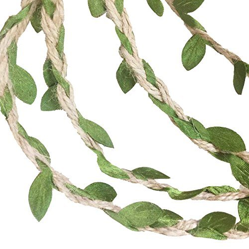 G2PLAYER 33 Feet Natural Jute Twine, Creative Burlap Leaf Ribbon 5MM with Artificial Green Leaves, Perfect Braided Decorated Vine for Art & Crafting Home Packing Decoration and any Party Décor (2 PCS) - Braided Spring