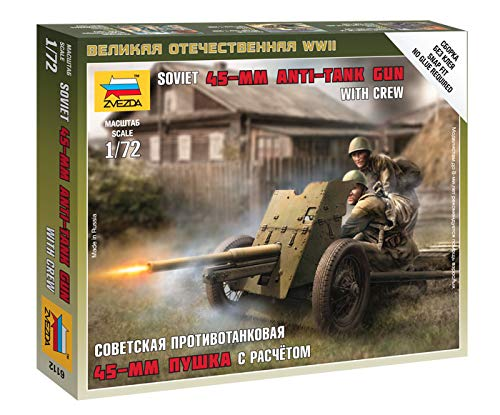 Zvezda Models 1/72 Soviet 45mm Anti-Tank Gun with Crew