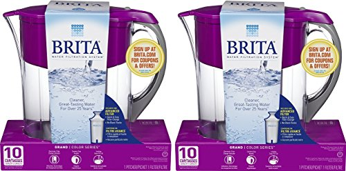 Brita Large 10 Cup Grand Water Pitcher with Filter - BPA Free - Violet (Pack of 2) by Brita