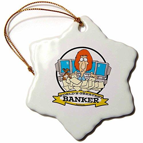 3dRose orn_102955_1 Funny Worlds Greatest Banker Occupation Job Cartoon-Snowflake Ornament, Porcelain, 3-Inch (Banker Ornament)